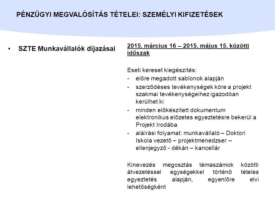 SZTE Munkavállalók díjazásai PÉNZÜGYI MEGVALÓSÍTÁS TÉTELEI: SZEMÉLYI KIFIZETÉSEK 2015. március 16 – 2015. május 15. közötti időszak Eseti kereset kieg
