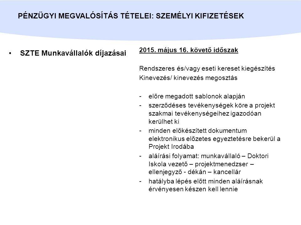 BsC/MsC hallgatók díjazásai PÉNZÜGYI MEGVALÓSÍTÁS TÉTELEI: SZEMÉLYI KIFIZETÉSEK 2015.