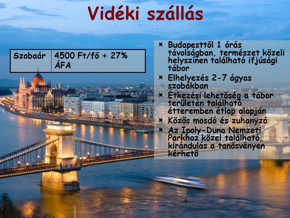 Vidéki szállás  Budapesttől 1 órás távolságban, természet közeli helyszínen található ifjúsági tábor  Elhelyezés 2-7 ágyas szobákban  Étkezési lehetőség a tábor területén található étteremben étlap alapján  Közös mosdó és zuhanyzó  Az Ipoly-Duna Nemzeti Parkhoz közel található, kirándulás a tanösvényen kérhető Szobaár4500 Ft/fő + 27% ÁFA