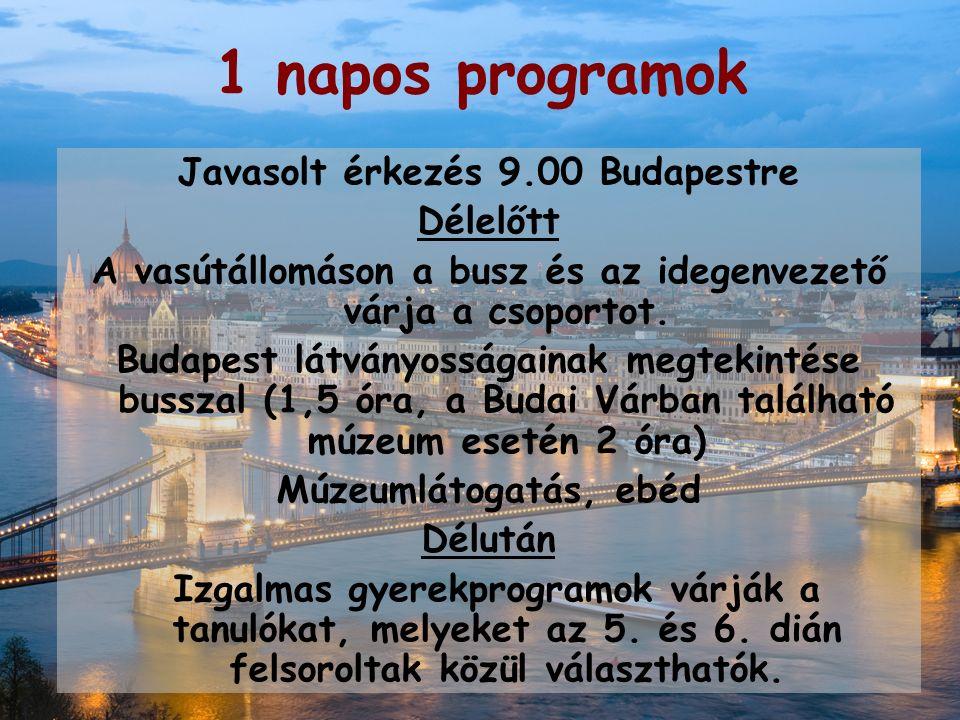 1 napos programok Javasolt érkezés 9.00 Budapestre Délelőtt A vasútállomáson a busz és az idegenvezető várja a csoportot.