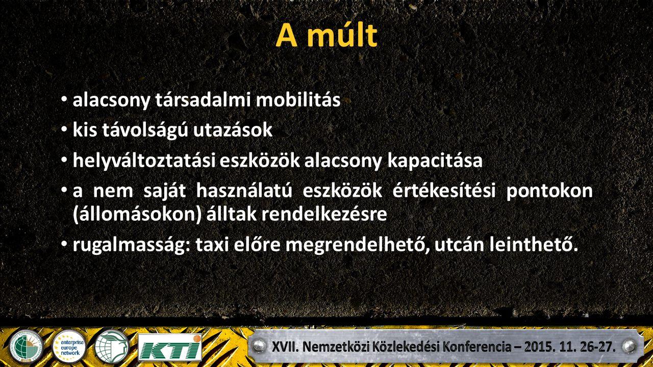 A múlt alacsony társadalmi mobilitás kis távolságú utazások helyváltoztatási eszközök alacsony kapacitása a nem saját használatú eszközök értékesítési pontokon (állomásokon) álltak rendelkezésre rugalmasság: taxi előre megrendelhető, utcán leinthető.