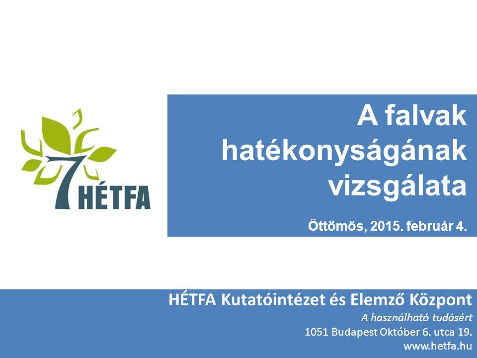 A falvak hatékonyságának vizsgálata Öttömös, 2015.