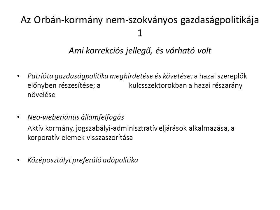 Az Orbán-kormány nem-szokványos gazdaságpolitikája 1 Ami korrekciós jellegű, és várható volt Patrióta gazdaságpolitika meghirdetése és követése: a hazai szereplők előnyben részesítése; a kulcsszektorokban a hazai részarány növelése Neo-weberiánus államfelfogás Aktív kormány, jogszabályi-adminisztratív eljárások alkalmazása, a korporatív elemek visszaszorítása Középosztályt preferáló adópolitika