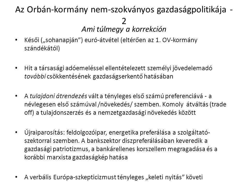 """Az Orbán-kormány nem-szokványos gazdaságpolitikája - 2 Ami túlmegy a korrekción Késői (""""sohanapján ) euró-átvétel (eltérően az 1."""