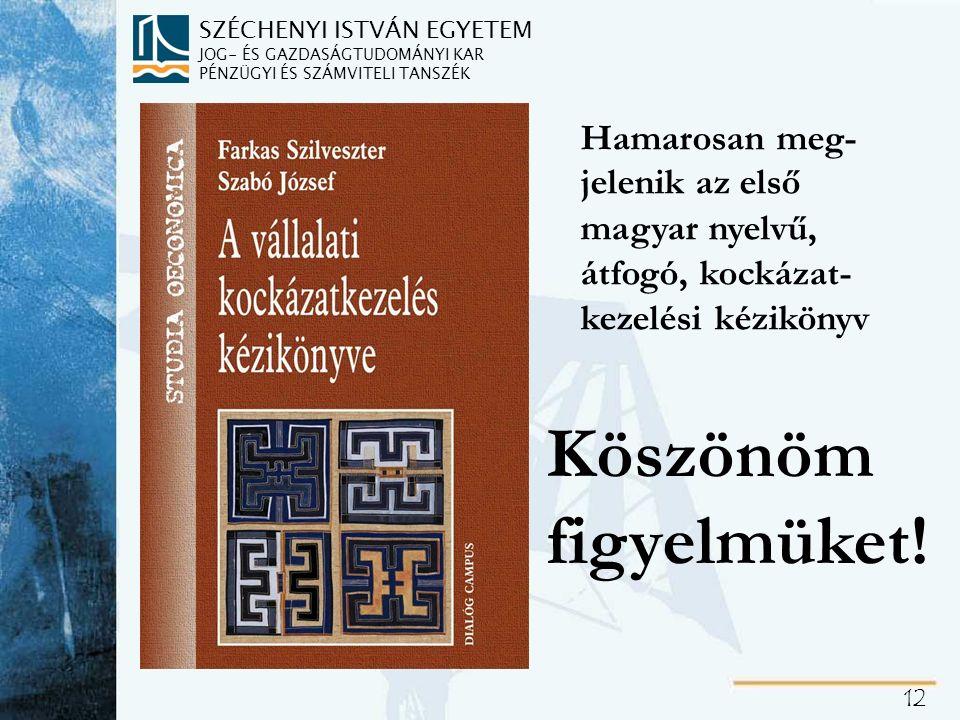 SZÉCHENYI ISTVÁN EGYETEM JOG- ÉS GAZDASÁGTUDOMÁNYI KAR PÉNZÜGYI ÉS SZÁMVITELI TANSZÉK 12 Hamarosan meg- jelenik az első magyar nyelvű, átfogó, kockáza