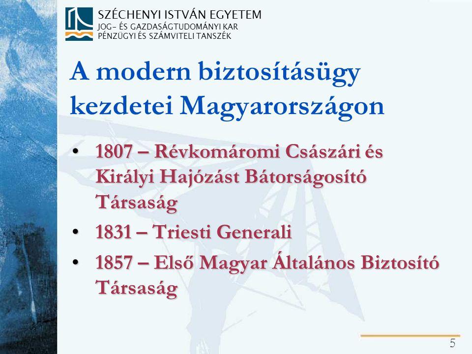 SZÉCHENYI ISTVÁN EGYETEM JOG- ÉS GAZDASÁGTUDOMÁNYI KAR PÉNZÜGYI ÉS SZÁMVITELI TANSZÉK 5 A modern biztosításügy kezdetei Magyarországon 1807 – Révkomár