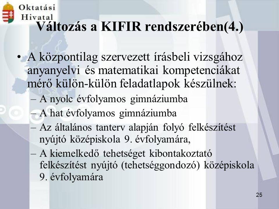 25 Változás a KIFIR rendszerében(4.) A központilag szervezett írásbeli vizsgához anyanyelvi és matematikai kompetenciákat mérő külön-külön feladatlapok készülnek: –A nyolc évfolyamos gimnáziumba –A hat évfolyamos gimnáziumba –Az általános tanterv alapján folyó felkészítést nyújtó középiskola 9.