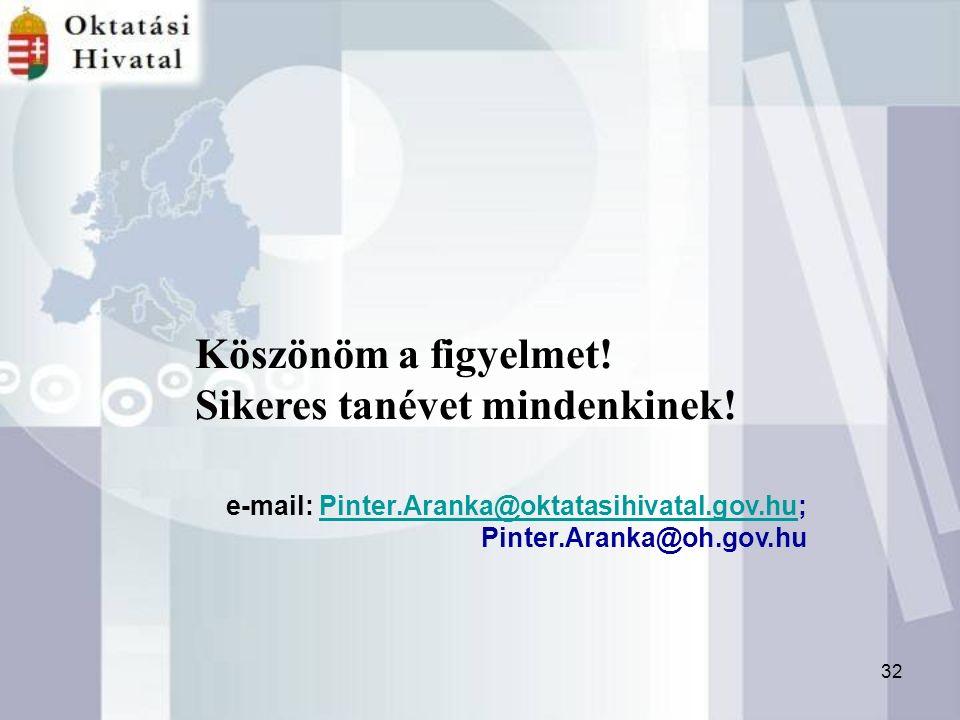 32 e-mail: Pinter.Aranka@oktatasihivatal.gov.hu;Pinter.Aranka@oktatasihivatal.gov.hu Pinter.Aranka@oh.gov.hu Köszönöm a figyelmet.