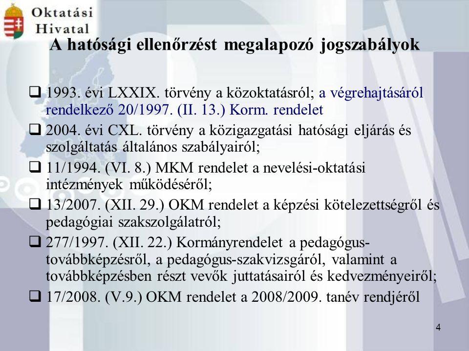 4 A hatósági ellenőrzést megalapozó jogszabályok  1993.