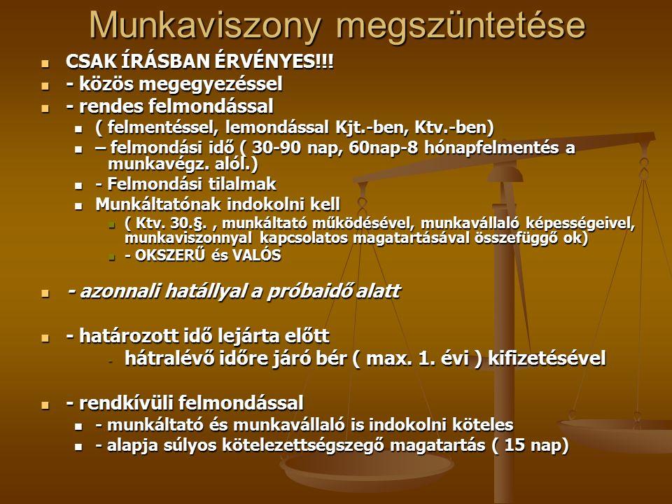 Munkaviszony megszüntetése CSAK ÍRÁSBAN ÉRVÉNYES!!.