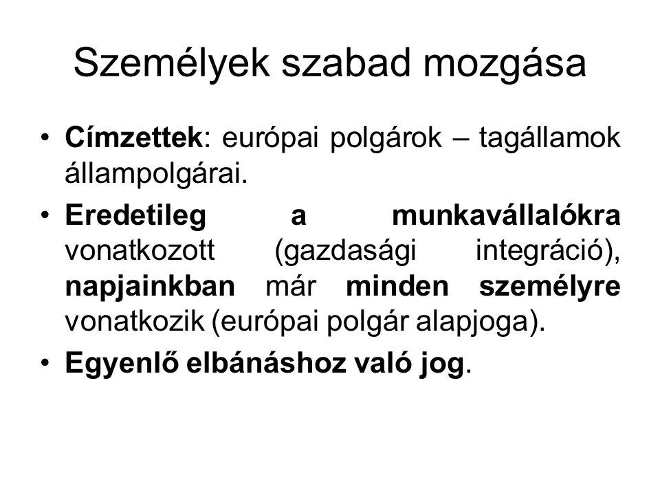 Személyek szabad mozgása Címzettek: európai polgárok – tagállamok állampolgárai. Eredetileg a munkavállalókra vonatkozott (gazdasági integráció), napj