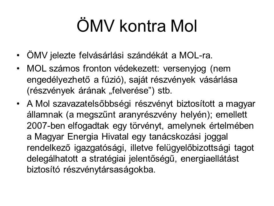 ÖMV kontra Mol ÖMV jelezte felvásárlási szándékát a MOL-ra. MOL számos fronton védekezett: versenyjog (nem engedélyezhető a fúzió), saját részvények v