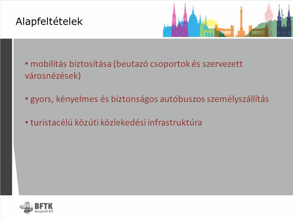 Alapfeltételek mobilitás biztosítása (beutazó csoportok és szervezett városnézések) gyors, kényelmes és biztonságos autóbuszos személyszállítás turist