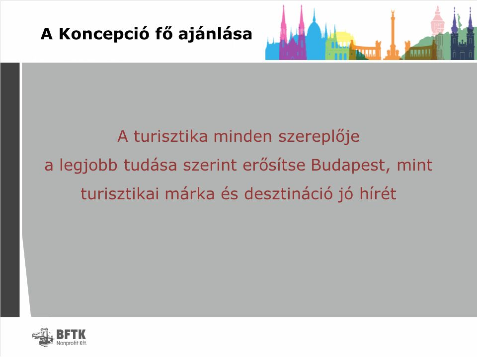 Koncepció tulajdonságai Budapest Főváros felkérésére és felhatalmazása alapján a BFTK alkotja meg a Koncepciót A Koncepció 2016-2024 közötti időtávra szól, összhangban a Nemzeti Turisztikai Fejlesztési Koncepcióval Alapja a Nemzeti Turisztikai Fejlesztési Koncepció valamint az Ugorjunk.