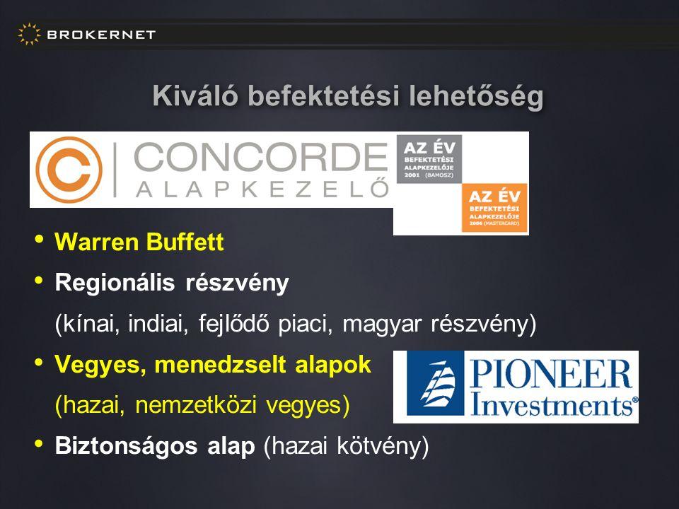 Kiváló befektetési lehetőség Warren Buffett Regionális részvény (kínai, indiai, fejlődő piaci, magyar részvény) Vegyes, menedzselt alapok (hazai, nemzetközi vegyes) Biztonságos alap (hazai kötvény)