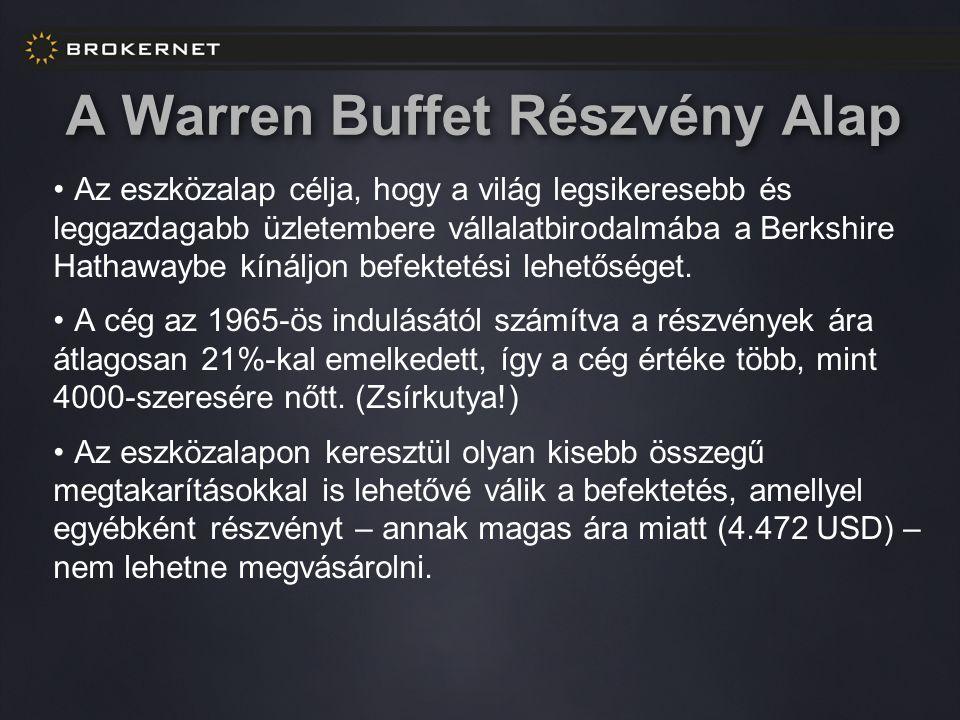 A Warren Buffet Részvény Alap Az eszközalap célja, hogy a világ legsikeresebb és leggazdagabb üzletembere vállalatbirodalmába a Berkshire Hathawaybe kínáljon befektetési lehetőséget.