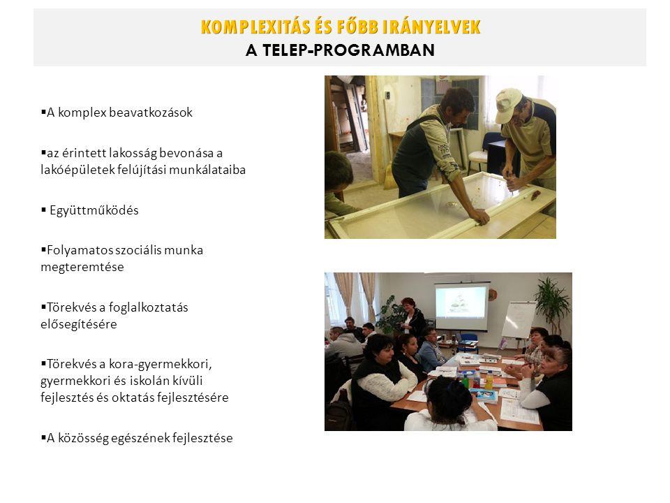  A komplex beavatkozások  az érintett lakosság bevonása a lakóépületek felújítási munkálataiba  Együttműködés  Folyamatos szociális munka megteremtése  Törekvés a foglalkoztatás elősegítésére  Törekvés a kora-gyermekkori, gyermekkori és iskolán kívüli fejlesztés és oktatás fejlesztésére  A közösség egészének fejlesztése