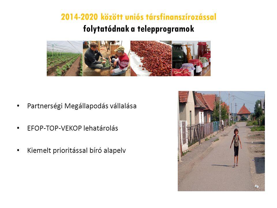 2014-2020 között uniós társfinanszírozással folytatódnak a telepprogramok Partnerségi Megállapodás vállalása EFOP-TOP-VEKOP lehatárolás Kiemelt prioritással bíró alapelv