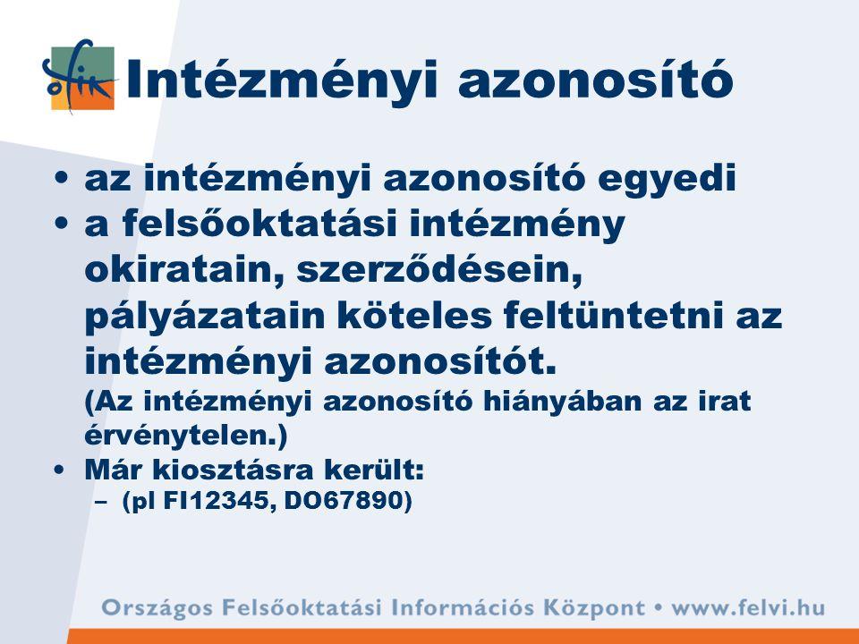 Intézményi azonosító az intézményi azonosító egyedi a felsőoktatási intézmény okiratain, szerződésein, pályázatain köteles feltüntetni az intézményi azonosítót.