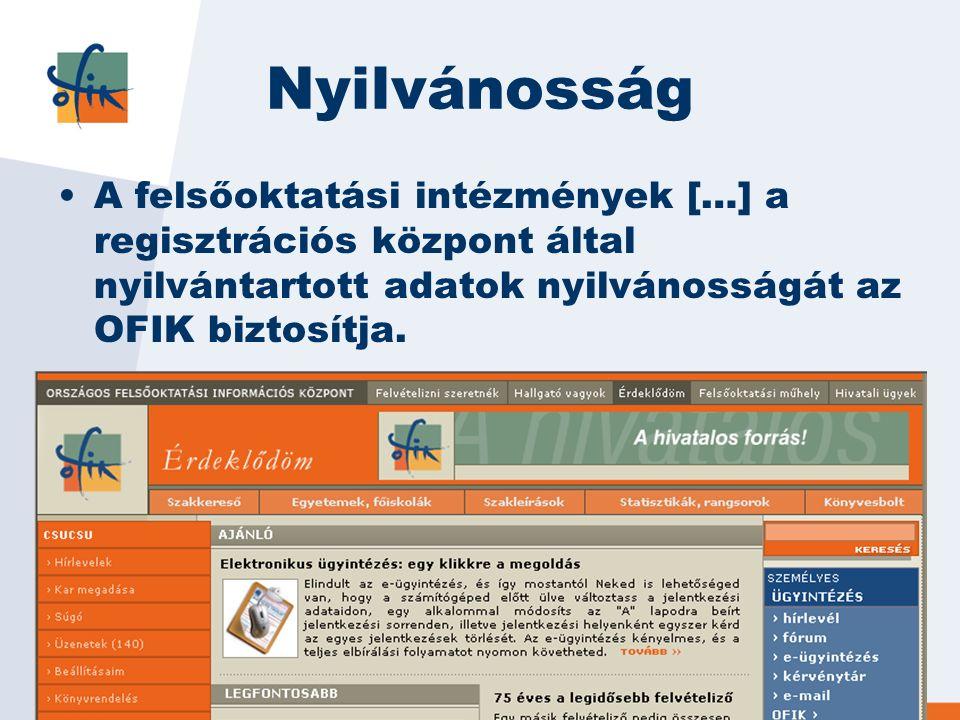Nyilvánosság A felsőoktatási intézmények […] a regisztrációs központ által nyilvántartott adatok nyilvánosságát az OFIK biztosítja.