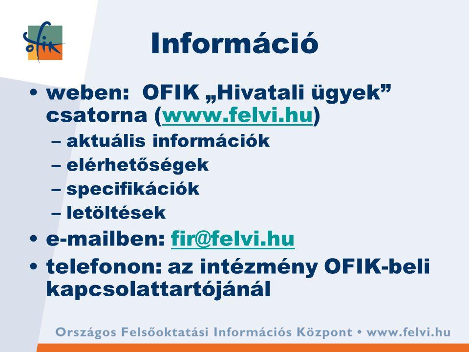 """Információ weben: OFIK """"Hivatali ügyek csatorna (www.felvi.hu)www.felvi.hu –aktuális információk –elérhetőségek –specifikációk –letöltések e-mailben: fir@felvi.hufir@felvi.hu telefonon: az intézmény OFIK-beli kapcsolattartójánál"""