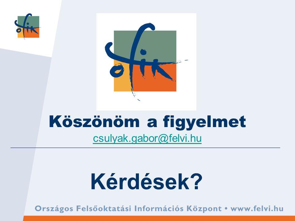 Kérdések? Köszönöm a figyelmet csulyak.gabor@felvi.hu csulyak.gabor@felvi.hu