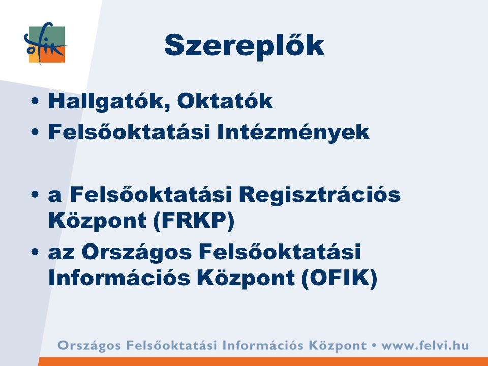Szereplők Hallgatók, Oktatók Felsőoktatási Intézmények a Felsőoktatási Regisztrációs Központ (FRKP) az Országos Felsőoktatási Információs Központ (OFIK)