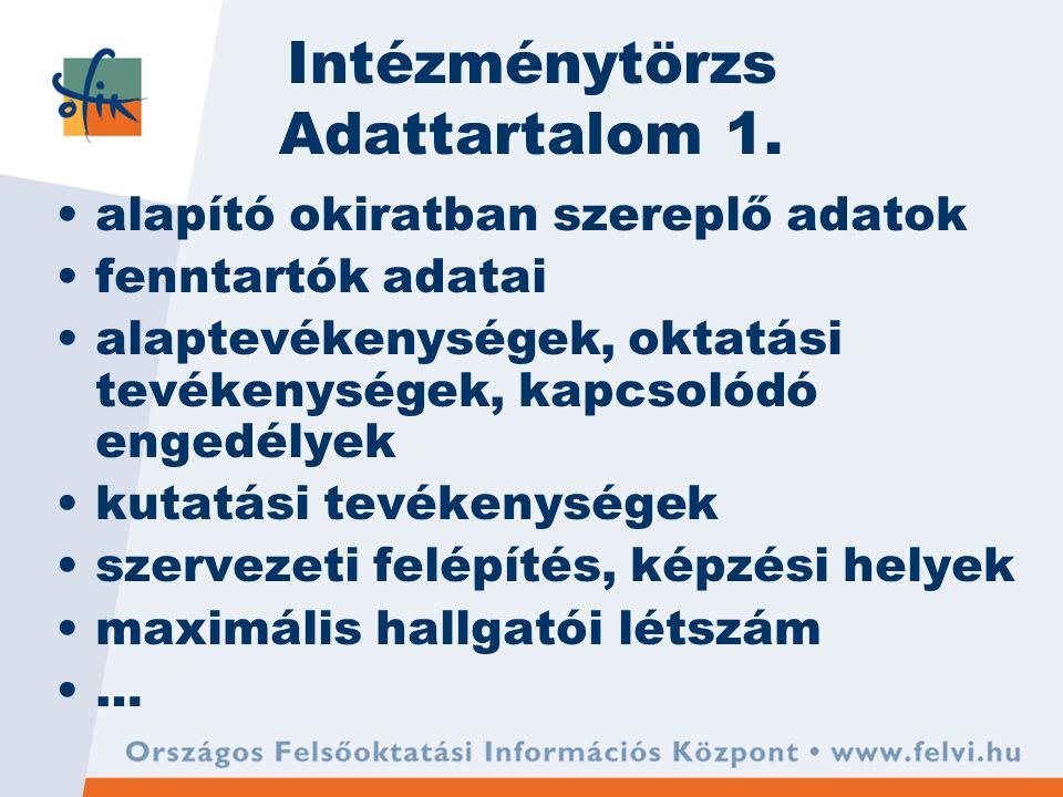 Intézménytörzs Adattartalom 1. alapító okiratban szereplő adatok fenntartók adatai alaptevékenységek, oktatási tevékenységek, kapcsolódó engedélyek ku