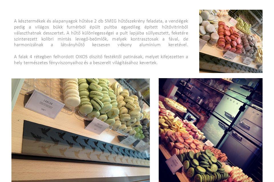 A késztermékek és alapanyagok hűtése 2 db SMEG hűtőszekrény feladata, a vendégek pedig a világos bükk furnérból épült pultba egyedileg épített hűtővit