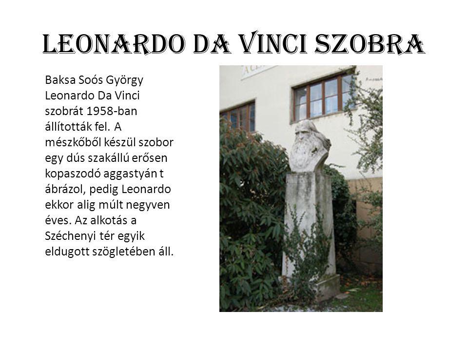 Leonardo Da vinci szobra Baksa Soós György Leonardo Da Vinci szobrát 1958-ban állították fel. A mészkőből készül szobor egy dús szakállú erősen kopasz