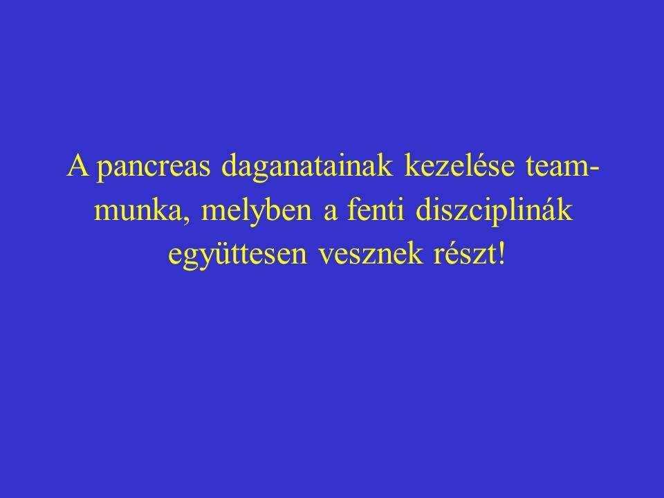 A pancreas daganatainak kezelése team- munka, melyben a fenti diszciplinák együttesen vesznek részt!