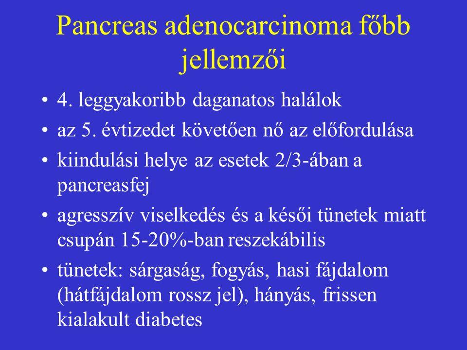 Pancreas adenocarcinoma főbb jellemzői 4.leggyakoribb daganatos halálok az 5.