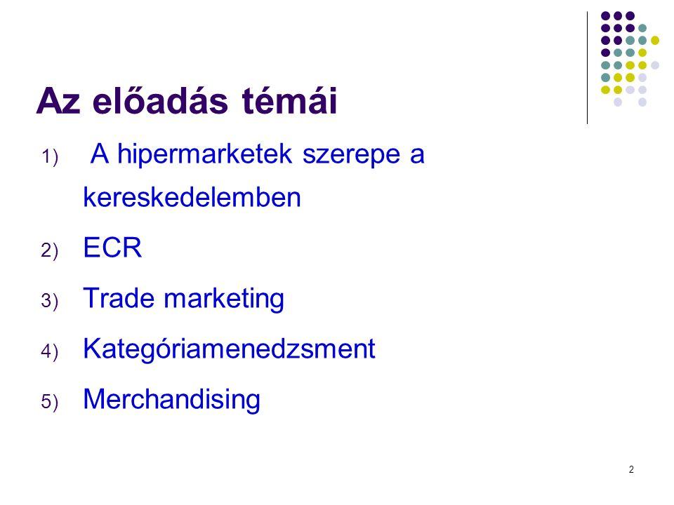 2 1) A hipermarketek szerepe a kereskedelemben 2) ECR 3) Trade marketing 4) Kategóriamenedzsment 5) Merchandising Az előadás témái