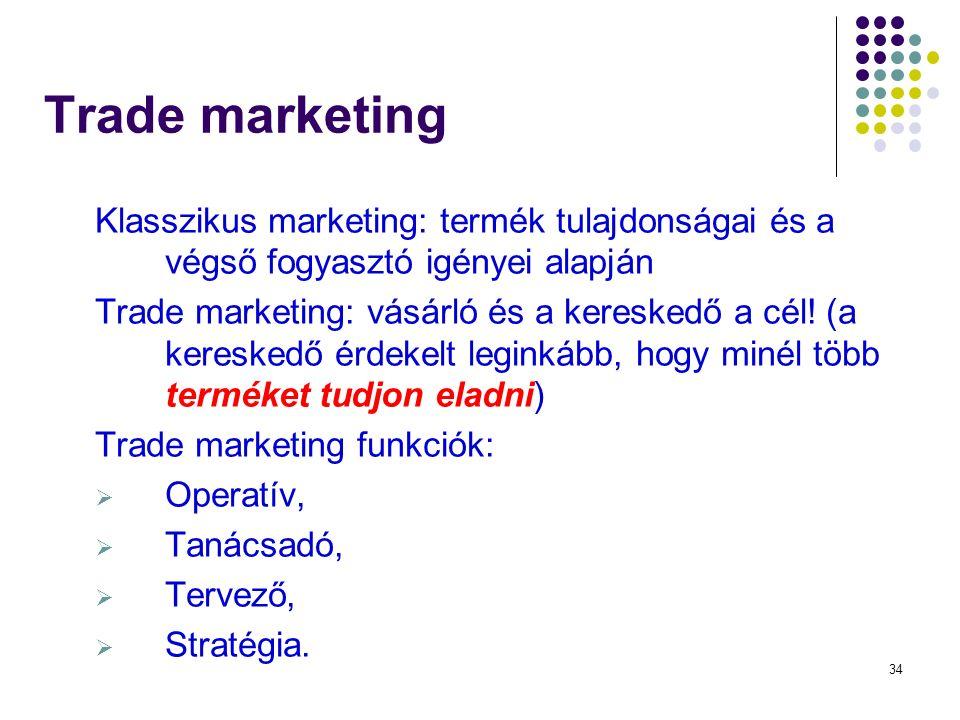 34 Trade marketing Klasszikus marketing: termék tulajdonságai és a végső fogyasztó igényei alapján Trade marketing: vásárló és a kereskedő a cél.
