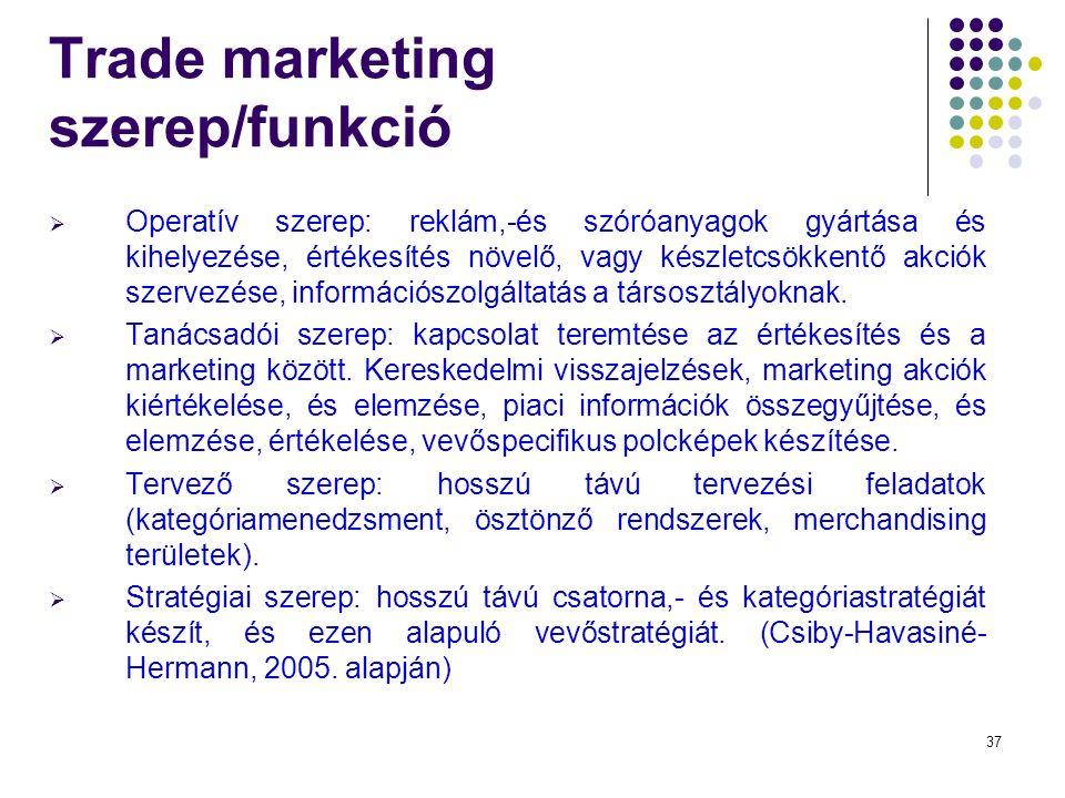 37 Trade marketing szerep/funkció  Operatív szerep: reklám,-és szóróanyagok gyártása és kihelyezése, értékesítés növelő, vagy készletcsökkentő akciók szervezése, információszolgáltatás a társosztályoknak.