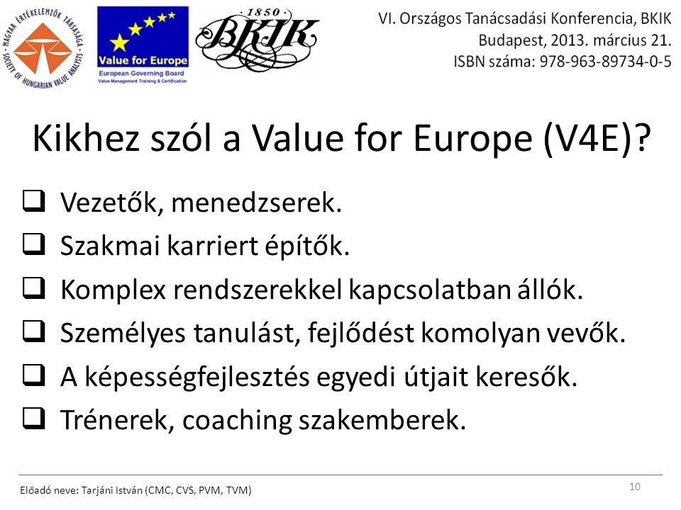 Kikhez szól a Value for Europe (V4E).  Vezetők, menedzserek.