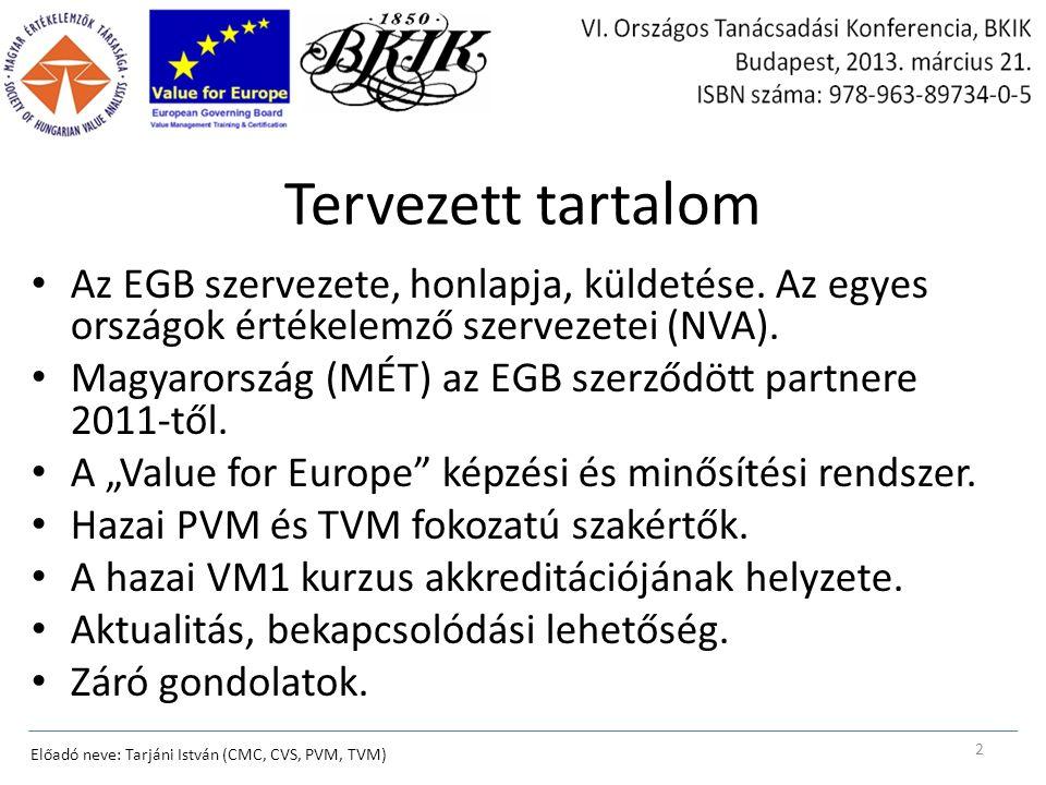 Az EGB European Governing Board (EGB) of the European Association for the Management of Training and Certification in Value Management www.valueforeurope.com Az Európai Uniós országok értékelemzési szervezeteit tömörítő szövetség.