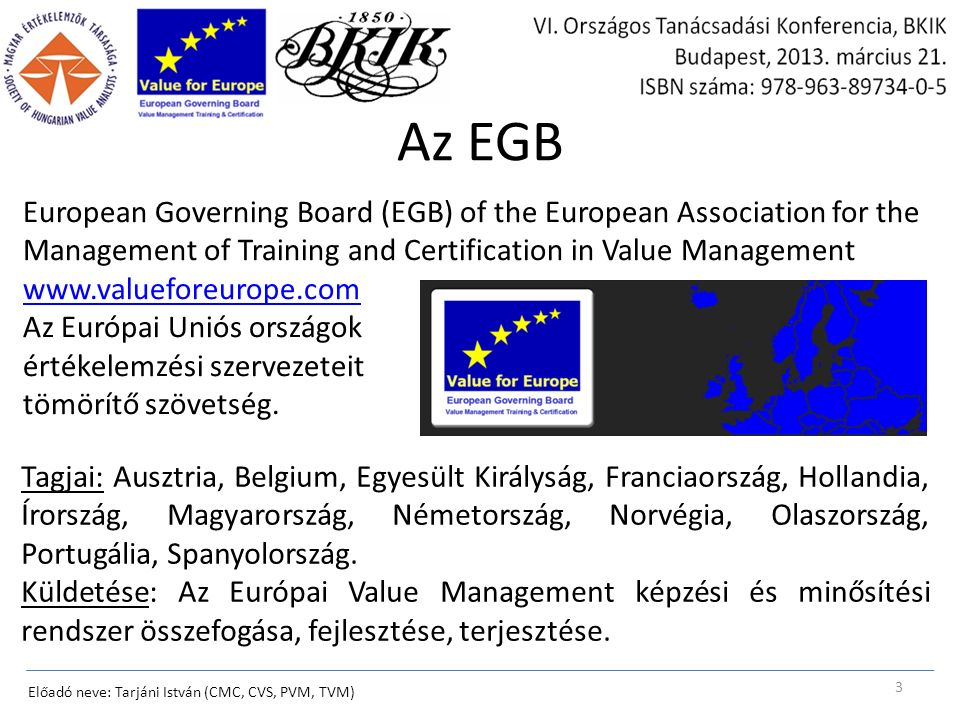Az EGB European Governing Board (EGB) of the European Association for the Management of Training and Certification in Value Management www.valueforeur