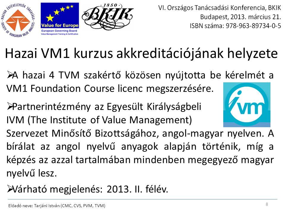Hazai VM1 kurzus akkreditációjának helyzete  A hazai 4 TVM szakértő közösen nyújtotta be kérelmét a VM1 Foundation Course licenc megszerzésére.