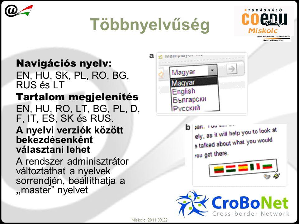 Miskolc, 2011.03.22 Többnyelvűség Navigációs nyelv : EN, HU, SK, PL, RO, BG, RUS és LT Tartalom megjelenítés EN, HU, RO, LT, BG, PL, D, F, IT, ES, SK
