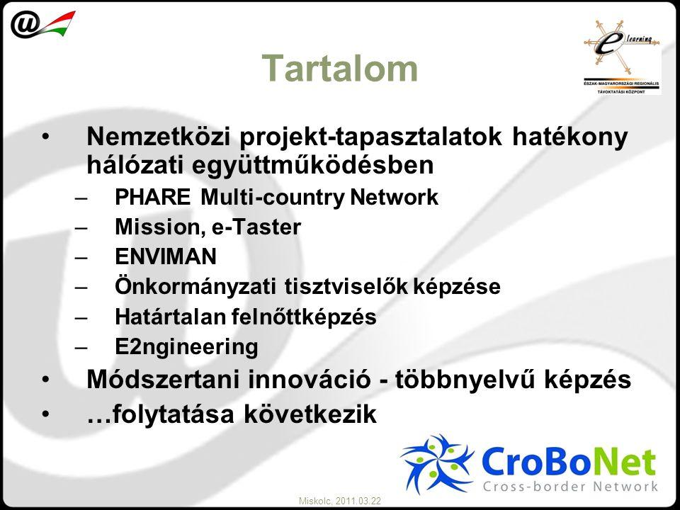 Miskolc, 2011.03.22 Tartalom Nemzetközi projekt-tapasztalatok hatékony hálózati együttműködésben –PHARE Multi-country Network –Mission, e-Taster –ENVI