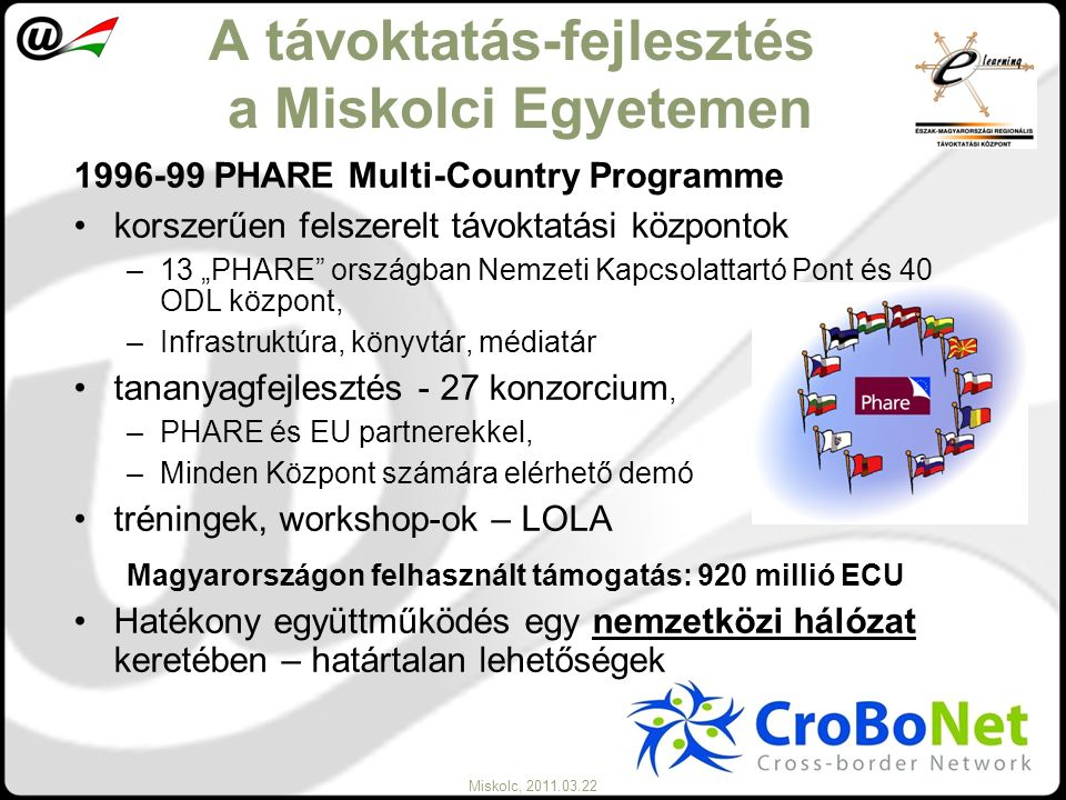 Miskolc, 2011.03.22 A távoktatás-fejlesztés a Miskolci Egyetemen 1996-99 PHARE Multi-Country Programme korszerűen felszerelt távoktatási központok –13