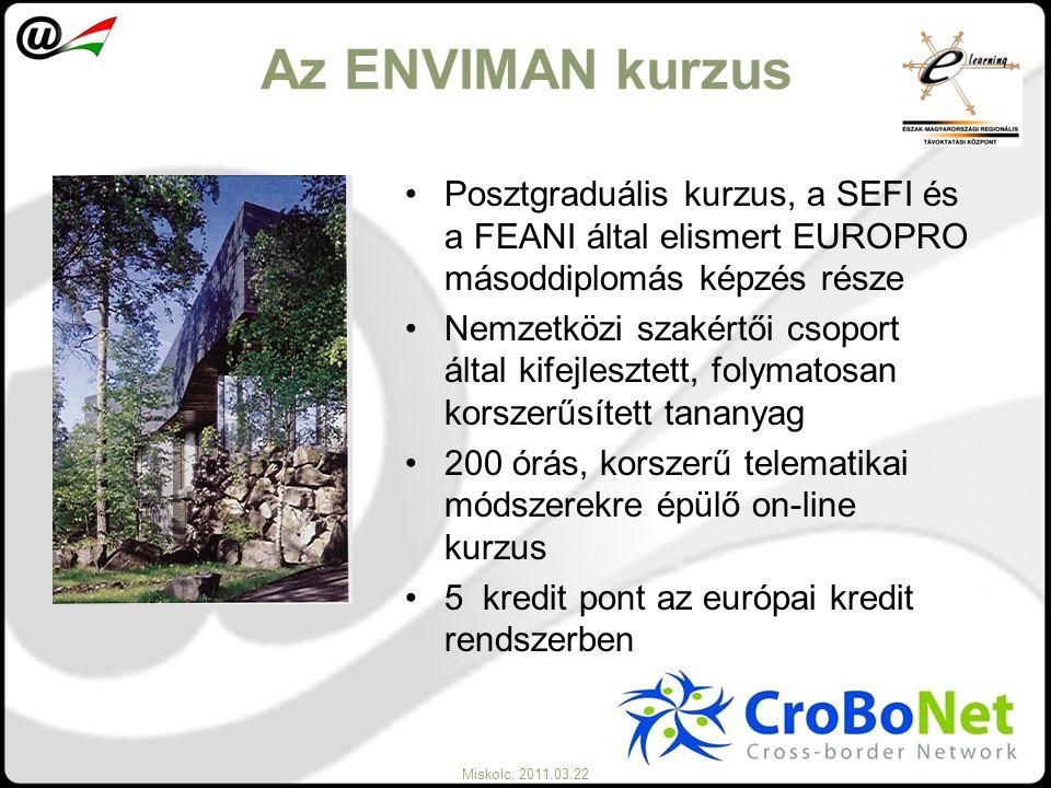 Miskolc, 2011.03.22 Az ENVIMAN kurzus Posztgraduális kurzus, a SEFI és a FEANI által elismert EUROPRO másoddiplomás képzés része Nemzetközi szakértői