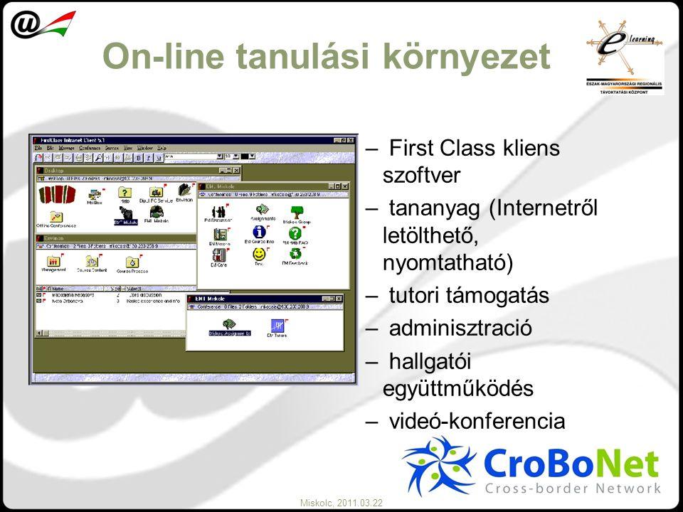 Miskolc, 2011.03.22 On-line tanulási környezet – First Class kliens szoftver – tananyag (Internetről letölthető, nyomtatható) – tutori támogatás – adm