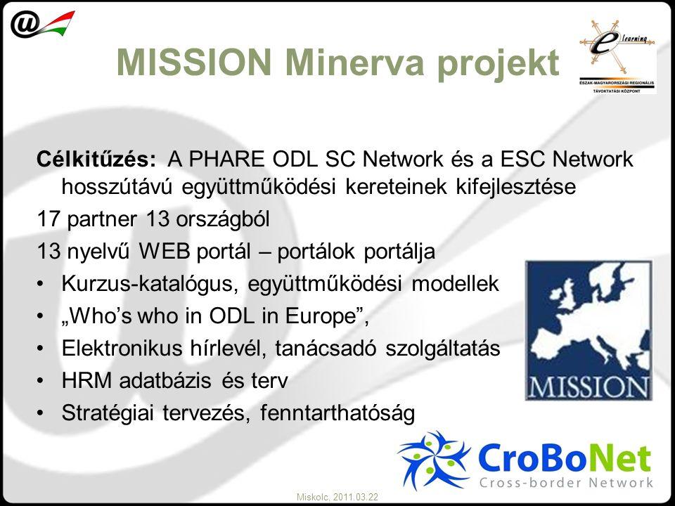 Miskolc, 2011.03.22 MISSION Minerva projekt Célkitűzés: A PHARE ODL SC Network és a ESC Network hosszútávú együttműködési kereteinek kifejlesztése 17