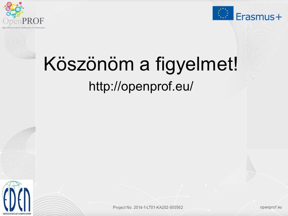openprof.eu Project No. 2014-1-LT01-KA202-000562 Köszönöm a figyelmet! http://openprof.eu/