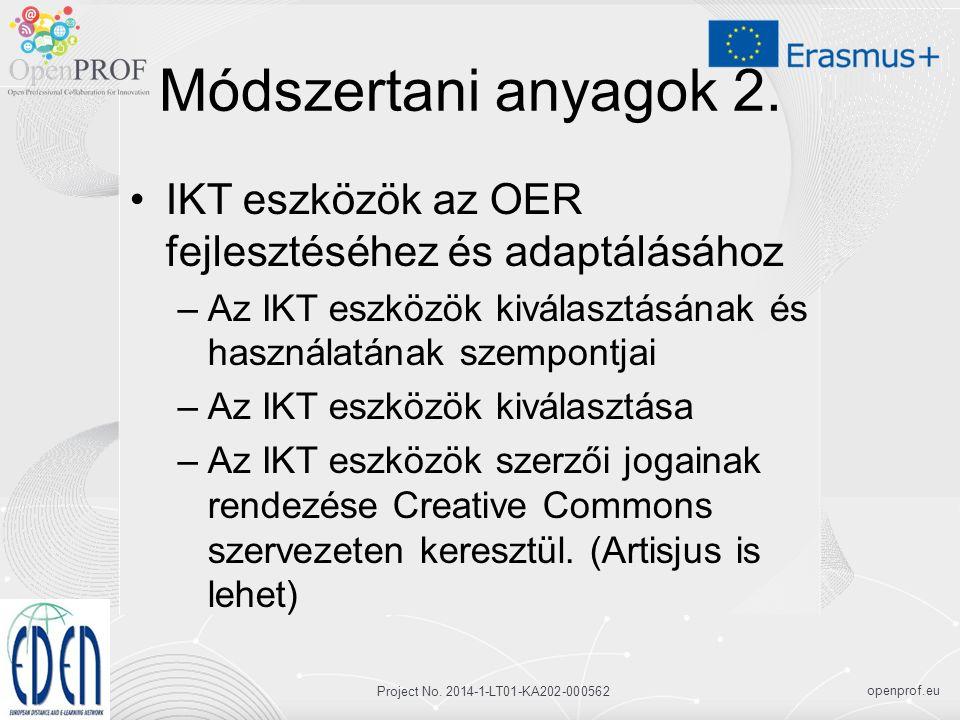 openprof.eu Project No. 2014-1-LT01-KA202-000562 Módszertani anyagok 2.