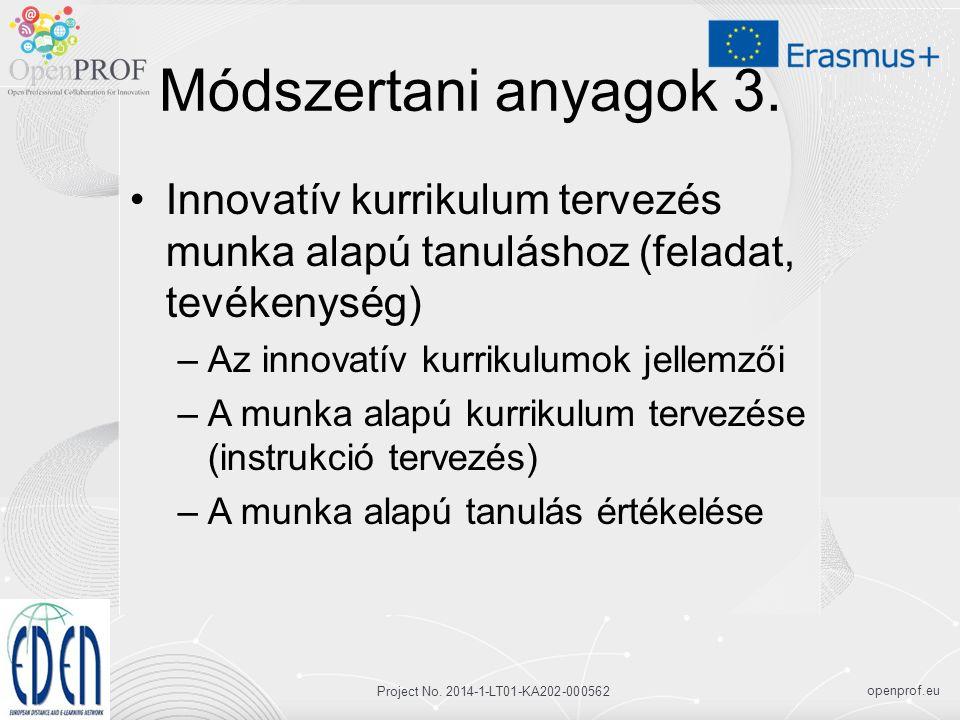 openprof.eu Project No. 2014-1-LT01-KA202-000562 Módszertani anyagok 3.
