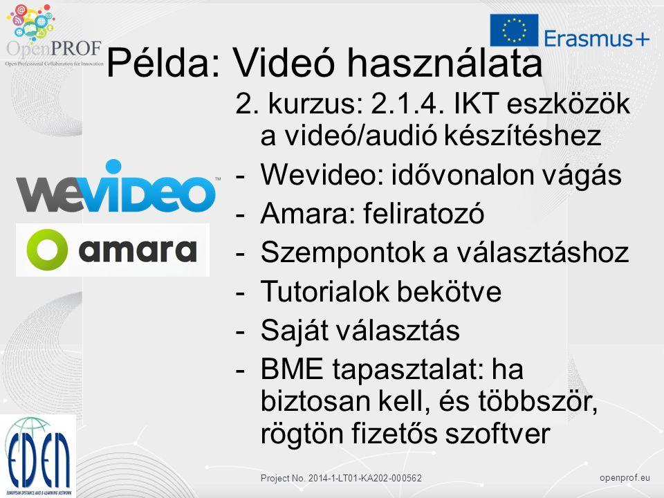 openprof.eu Project No. 2014-1-LT01-KA202-000562 Példa: Videó használata 2.