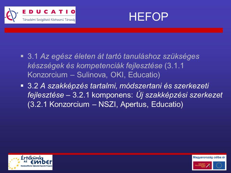 HEFOP 3.1.1 HEFOP 3.2.1 Egységes irányítási rendszer (3.1.1) Digitális tananyagok 3.1.1 Közismereti tananyagok 3.2.1 Szakképzési (kiegészítő) tananyagok 3.2.1 Moduláris pedagógus továbbképzési rendszer E-learning infrastruktúra Tartalom menedzsment (SDT) Tanulás menedzsment (EDUCATIO - LMS)